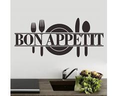 """ufengke® """"Bon Appetit"""" Couteau de Plaque et Fourchette Salle de Séjour Chambre À Coucher Autocollants Amovibles, Cuisine Salle À Manger Autocollants Amovibles, Noir"""