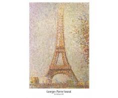 1art1® Poster + Suspension : Georges Seurat Poster (91x61 cm) La Tour Eiffel Et Kit De Fixation Transparent