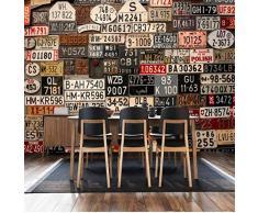 BIZHIGE Mur 3D Arrière-Plan De Plaque D'Immatriculation Européenne Rétro Américaine Nostalgique Restaurant-400 × 250Cm