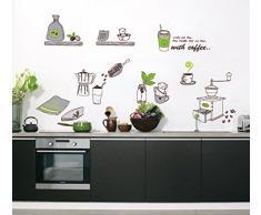 ufengke® Vaisselle de Cuisine Personnalisé Stickers Muraux, Cafetière et des Tasses de Café Autocollants Amovibles Pour la Cuisine Salle à Manger