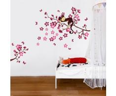 Pink Monkey Tree-WS3033 JB-K7LQ-8ZN5 Sticker Mural Sleeping Singe & Peach Blossom Arbre Sleeping Singe & Peach Blossom Arbre
