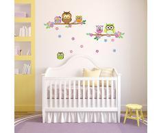 WalplusOwl Sticker mural Motif arbre fleuri pour la décoration de la maison, la chambre denfant, à lintérieur de la famille Salon - 100 cm x 60 cm, en PVC Multicolore