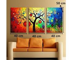 OMGO Triptyque Tableaux Multicolore L'arbre Fruitier Decoration Mural Peinture à l'huile Impression Sur Toile Image Photo Décorative Art Moderne 3 Pièces 120*50cm