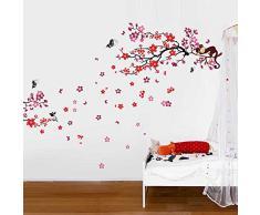 Walplus Autocollant Mural Combo Rose Singe Arbre Plus Rouge Fleur - Bureau Maison Décoration, 190cm x 140cm, PVC, Amovible, Autocollant, Multi-Color