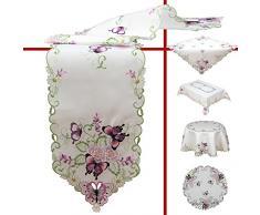 Quinnyshop Lilas Papillons et Fleurs Broderie Napperon 30 cm Rond Polyester, Blanc