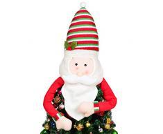 YQing Décoration pour Cime darbre de Noël, Cimier de Sapin de Noël avec Père Noël Decoration, Topper de Noel Arbre pour Noël, fêtes de Noël, Danses de la Famille