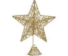Gisela Graham doré pailleté Grille métal sapin de Noël supérieur étoile dessus décoration par cubsco