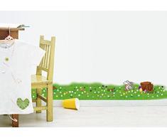 ufengke® Herbes Petites Fleurs Vertes et Lapin Mignon Stickers Muraux, Salle de Séjour Chambre à Coucher Plinthe Autocollants Amovibles