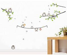 ufengke® Hiboux Mignons Branche D'Arbre Stickers Muraux, La Chambre des Enfants Pépinière Autocollants Amovibles
