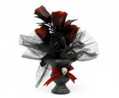 Décoration bouquet de fleur tête de mort Halloween