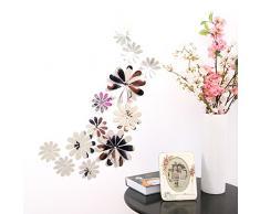 Ufengke® 12 Pièces 3D Miroir Fleurs Stickers Muraux Design De Mode Bricolage Fleurs Art Autocollants Artisanat Décoration De La Maison, Argent