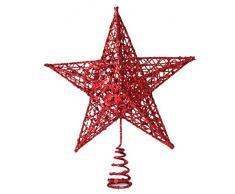 La Vogue Cimier Noël Étoile Fer Paillette Decoration Etoile Pour Sommet Sapin Arbre Noel Cour Rouge 25*20cm