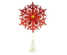Clever Creations - Cimier Flocon de Neige pour Sapin de Noël - en Plastique Brillant/résistant aux Chocs - décoration de fête - pour Toute Taille de Sapin - Rouge - 21,6 cm