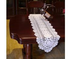 Yazi Blanc chemins de table ovale en coton fabriqués en crochet Style shabby vintage au crochet Table Canapé Napperon 30 x 60 cm