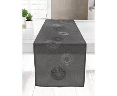 Chemin de table anneaux tissu gris, motifs anneaux entrelacés blanc, gris et noir, 100% polyester