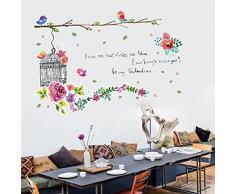 ufengke® Fleurs Volière Mignonne Des Oiseaux Stickers Muraux,Salle De Séjour Chambre À Coucher Autocollants Amovibles