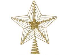 Grand Cimier de Sapin de Noël Doré aux Paillettes - Étoile