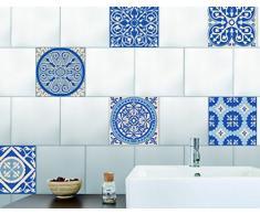 Décoration adhésive pour CARRELAGE Plage 260533 Autocollants Lisses Imitation Carreaux azulejos, 6 Planches, Vinyle, Bleu, 15 x 0,1 x 15 cm