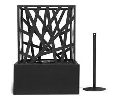 Cheminée Éthanol de Table - Mobile, 20.7 x 20.7 x 29.5 cm, en Acier Inoxydable, avec Pierres Décoratives - Cheminée à Poser au Sol, Poêle Éthanol