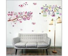 Walplus Sticker mural à fleurs / arbres / cage à oiseau pour chambre de fille