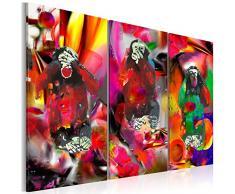 Impression sur toile 120x80 cm - Grand format! 3 pieces - Image sur toile - Images - Photo - Tableau - motif moderne - Décoration - tendu sur chassis - abstraction abstrait animaux singe g-A-0106-b-e 120x80 cm