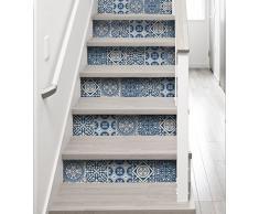 Plage Stairs 197013Escaliers de stickers azulejos–Carrelage, Ciment vinyle, bleu, 100x 0,1x 19cm