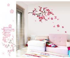 ufengke® Chinois Peach Fleurs de Style de Fleur Stickers Muraux, Salle de Séjour Chambre à Coucher Autocollants Amovibles