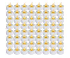 Bougies chauffe-plat LED à lumière vacillante, sans flamme, fonctionnent avec piles, blanc