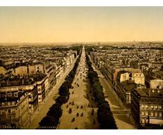 VINTAGE PHOTO CITYSCAPE CHAMPS ELYSEES PARIS FRANCE FINE ART POSTER CC5242