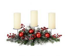 WeRChristmas Centre de Table avec 3 bougeoirs pour bougies piliers Décoration de Noël Boules de noël effet givré 52 cm