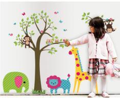 ufengke® Grand Arbre Coloré et Cartoon Animaux Stickers Muraux, Beaux Singes Éléphant Lion de Girafe, la Chambre des Enfants Pépinière Autocollants Amovibles