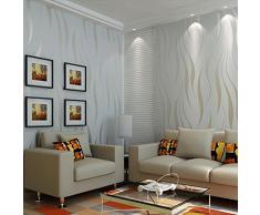 Hanmero Papier Peint Moderne Intissé Motif avec Rayures 3D Flocage pour Chambre Salon Bureau---0.53m*10m
