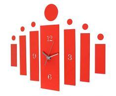 Jago - Horloge murale au design moderne - mécanisme et 13 autocollants muraux - Rouge - en aluminium et acrylique - COLORIS AU CHOIX