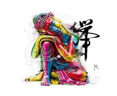 1Mur Patrice Murciano Bouddha coloré à Coller au Mur Papier Peint Non tissé, Bois, Multicolore, 3,6x 2,53M