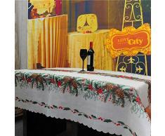 niceEshop(TM) Nappe de Table avec Impression Magnifique pour Noël (Impression Pomme de Pin)