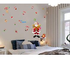 ufengke Joyeux Noël Père Noël Cadeau de Noël Vitrine Stickers Muraux, Salle de Séjour Chambre À Coucher Autocollants Amovibles