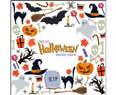 Kesote 8 Feuilles dAutocollants dhalloween pour Fenêtre et Vitrine Autocollants de Happy Halloween, Citrouille, Chat, Chauve-Souris et Fantôme Stickers de Décoration pour Halloween