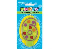 Unique Party - 37556 - Bougie Décorative dAnniversaire Numéro 6