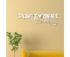 """Ufengke® 3D """"Don'T Worry"""" Lettres Effet De Miroir Stickers Muraux Design À La Mode Art De Décalque Décoration De La Maison Argent"""