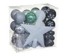WEB2O Lot déco Noël - Kit 44 pièces pour décoration Sapin : Guirlandes, Boules et Cimier - Thème Couleur : Argent, Noir & Bleu