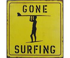 1art1 Surf Poster Plaque en Métal - Gone Surfing (24 x 24 cm)