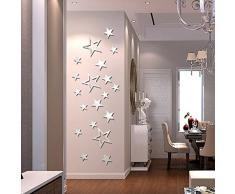 ufengke® 19-Pcs À Cinq Pointes Étoiles Effet De Miroir Stickers Muraux Design À La Mode Art De Décalque Décoration De La Maison Argent