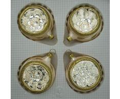 Boules de cuisson insérable givré verni avec motif champagne diamètre 6 cm lot de 4 décorations de noël cimier lauschaer soufflé à la bouche, porcelaines-décorées main verre original