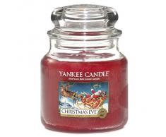 Yankee Candle 1199604E Nuit de Noël mBougies jarres Moyen modèle, Verre, Rouge, 10,1 x 9,8 x 13,9 cm