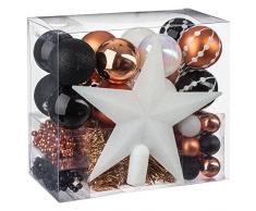 Lot déco Noël - Kit 44 pièces pour décoration sapin : Guirlandes, Boules et Cimier - Thème couleur : Blanc, Noir et Cuivré