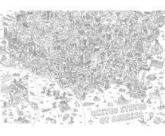 OMY Poster géant à colorier carte des USA format encadrable (70 x 100 cm)