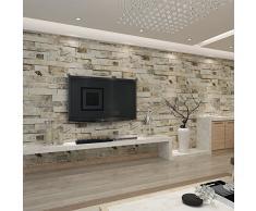 HANMERO Papier Peint Motif de Brique Pierre Vinyle 3D pour Chambre Salon TV Fond---0.53M* 10M---4 Couleurs au Choix