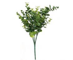 SODIAL(R) 1 x Plastique artificielle Plante Eucalyptus Herbe 7 branches pour Decoration de Maison de mariage Vert --- grandes feuilles