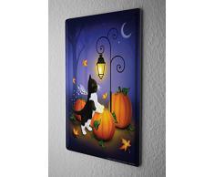 Plaque Émaillée Décoration De Chat Citrouille d'Halloween lanterne nuit croissant de lune Publicité Signes En Métal 20X30 cm