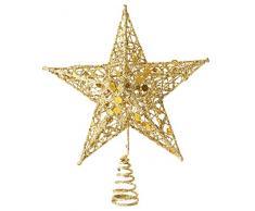 GEMVIE 3D Cimier Sapin de Noël Creux Étoile 20 * 15cm en Fer Brillanté Décoration Arbre Noël Pointes De Sapin Christmas Tree